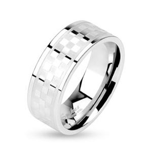 Oceľový prsteň - kockovaný dekor, šírka 8 mm