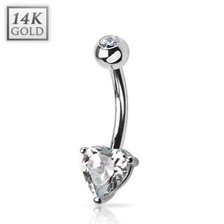 Zlatý piercing do pupíku - srdíčko, Au 585/1000