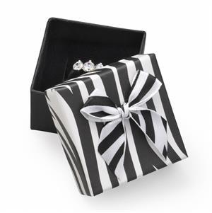 Darčeková krabička na prsteň rebrovaná s mašľou