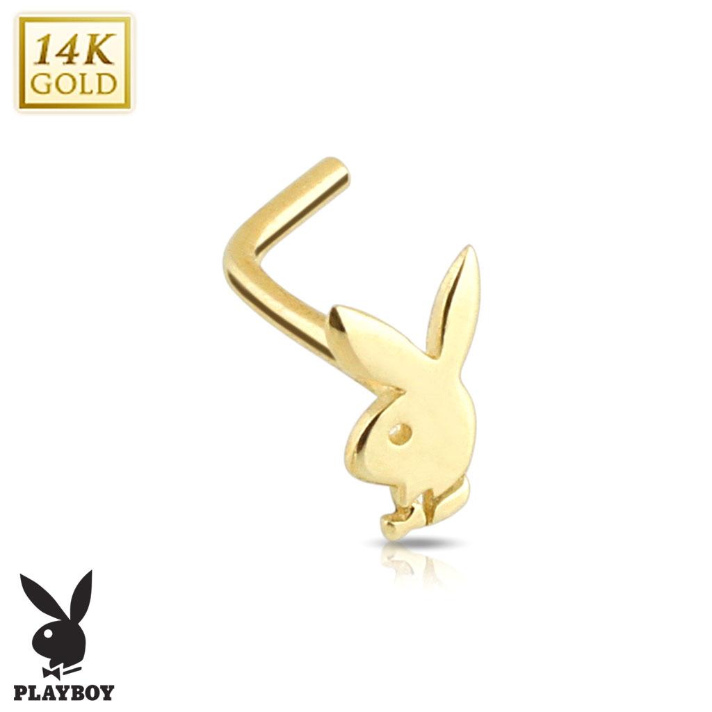Zlatý piercing do nosu - Playboy, Au 585/1000 ZL01023-YG