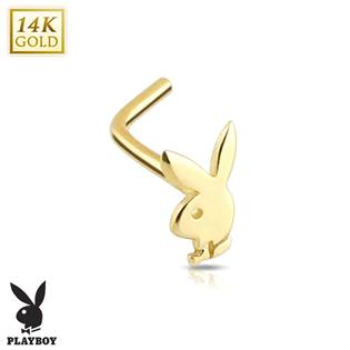Zlatý piercing do nosu - Playboy, Au 585/1000