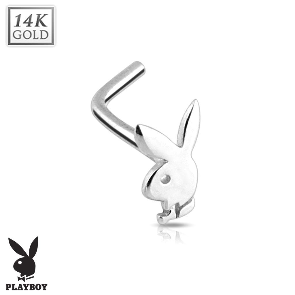 Zlatý piercing do nosu - Playboy, Au 585/1000