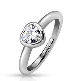 Ocelový prsten - srdíčko