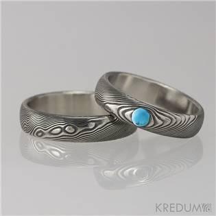 KREDUM® Hynek Kalista Dámský snubní prsten damasteel PRIMA s tyrkysem - velikost 51 - KS1051-TK-51