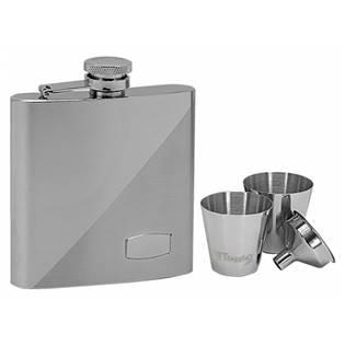 Ocelová kapesní lahev - placatka 180ml + 2 kalíšky 30ml a trychtýřek 97057