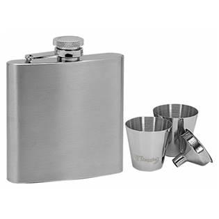 Ocelová kapesní lahev - placatka 180ml + 2 kalíšky 30ml a trychtýřek 97052