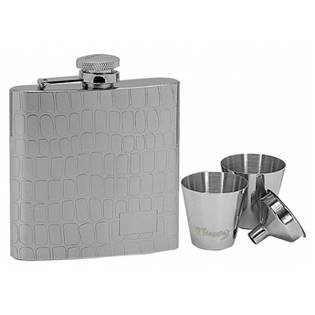Ocelová kapesní lahev - placatka 180ml + 2 kalíšky 30ml a trychtýřek 97053