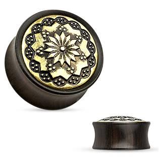 Dřevěný plug do ucha Ebony Wood s ornamenty