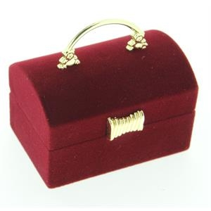 Semišová darčeková krabička - truhla vínová