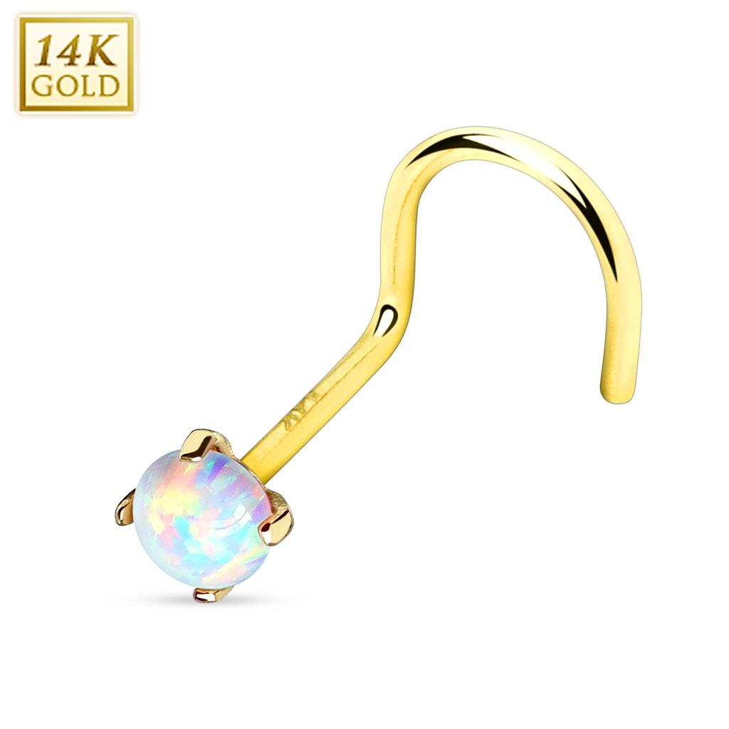 Zlatý piercing do nosu Opál, Au 585/1000 ZL01025-YG