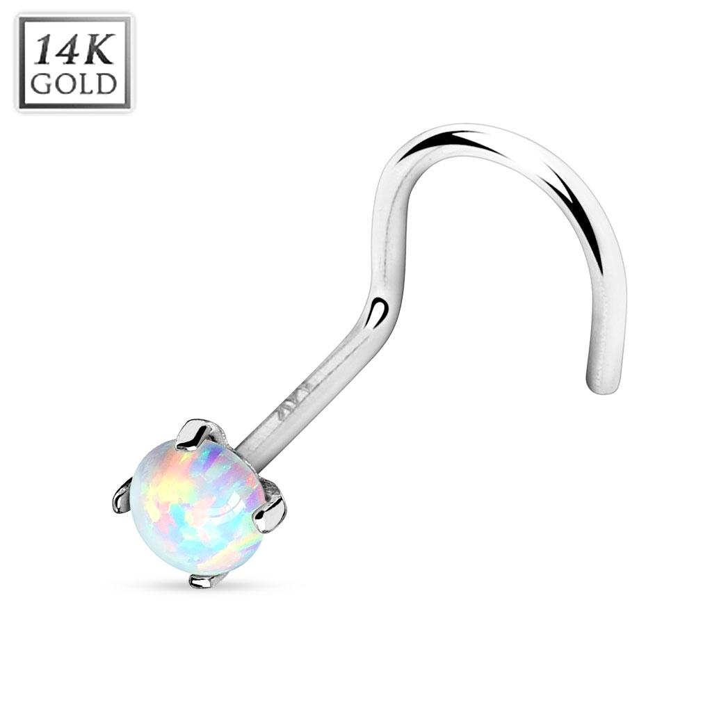 Zlatý piercing do nosu Opál, Au 585/1000 ZL01025-WG