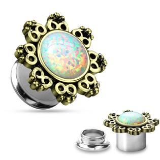 Plug do ucha s ornamenty a Opálem