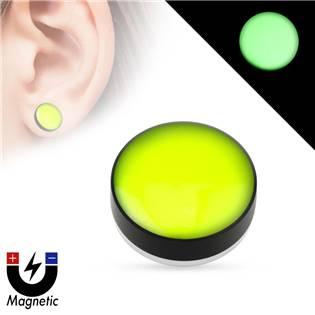 Piercing - magnetický plug do ucha, žlutý
