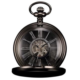 Čierne mechanické vreckové hodinky v darčekovom balení