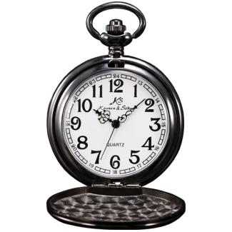 Čierne vreckové hodinky v darčekovom balení