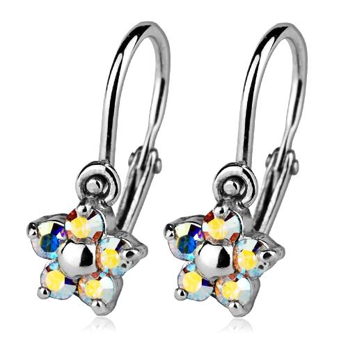 Detské náušnice strieborné - kvetinky, Crystals from SWAROVSKI®, farba: AB
