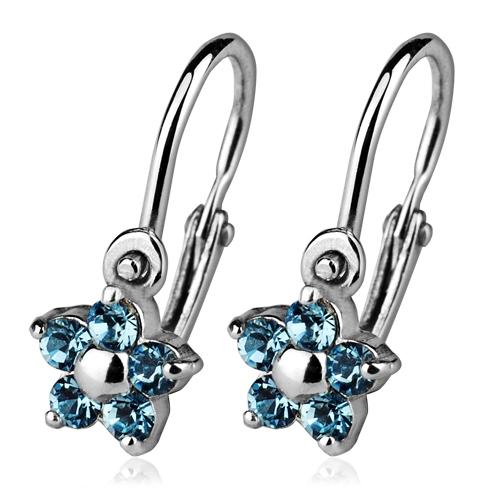 Detské náušnice strieborné - kvetinky, Crystals from SWAROVSKI®, farba: Aquamarine