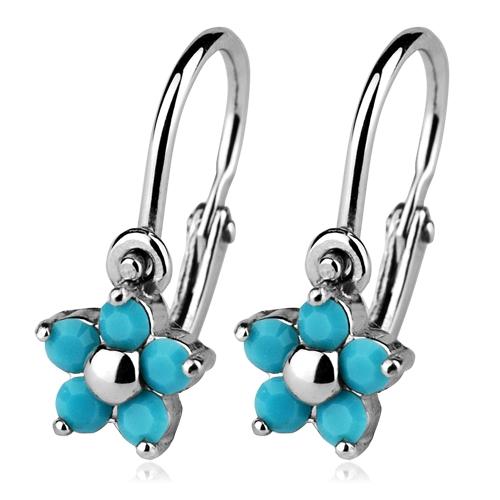 Detské strieborné náušnice - kvetinky, Crystals from SWAROVSKI®, farba: Turquoise