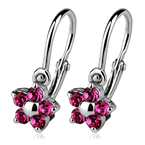 Detské náušnice strieborné - kvetinky, Crystals from SWAROVSKI®, farba: Rose