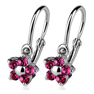 Dětské náušnice stříbrné - kytičky, Crystals from SWAROVSKI®, barva: Rose