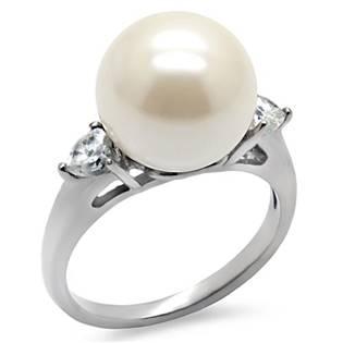 Ocelový prsten s perlou a zirkony