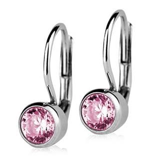 Stříbrné náušnice se světle růžovými kameny 5 mm