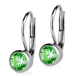 Stříbrné náušnice se zelenými kameny 5 mm