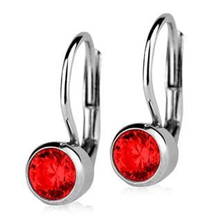 Stříbrné náušnice s červenými kameny 5 mm