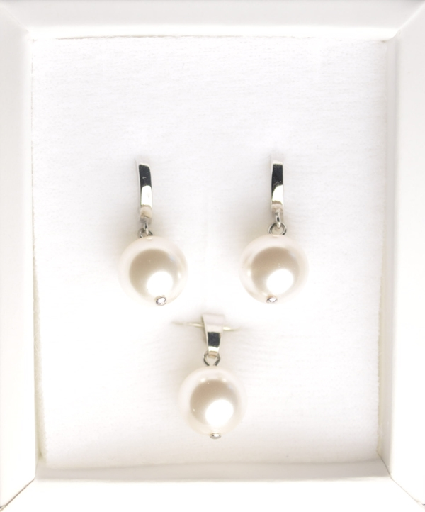 Strieborný perlový set náušnice + prívesok