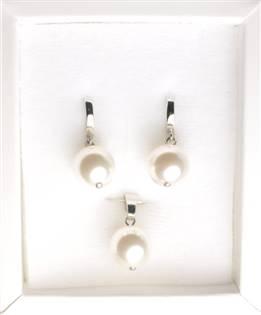 Stříbrný perlový set náušnice + přívěšek