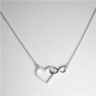 Šperky4U Stříbrný řetízek - srdíčko a symbol nekonečna - ZB87739