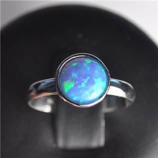 Stříbrný prsten - modrý opál, vel. univerzální