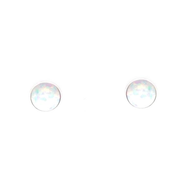 Strieborné náušnice - svetlý opál