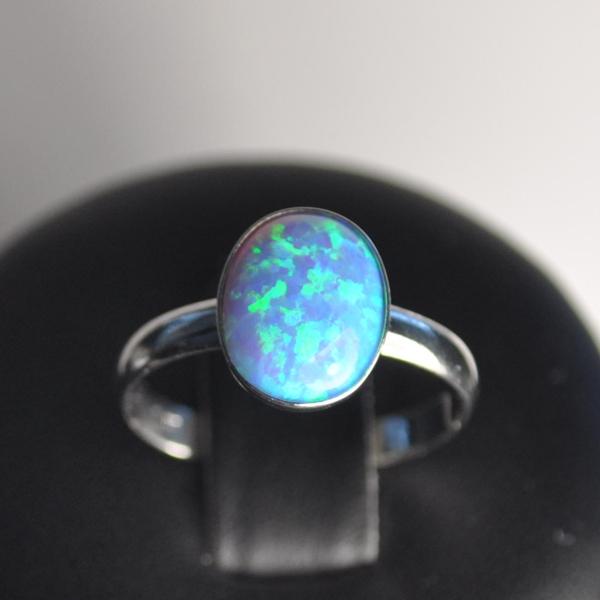Strieborný prsteň - modrý opál, veľ. univerzálne