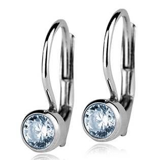 Stříbrné náušnice se světle modrými kamínky 4 mm