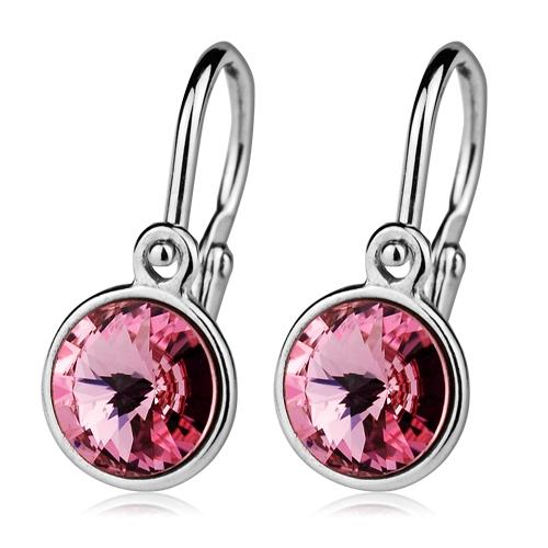 Detské strieborné náušnice, Crystals from SWAROVSKI®, farba: Light Rose