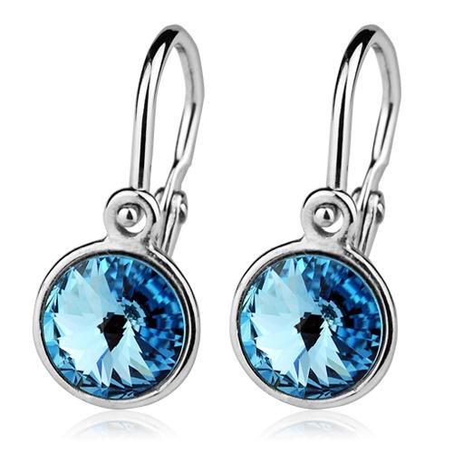 Detské strieborné náušnice, Crystals from SWAROVSKI®, farba: Aquamarine