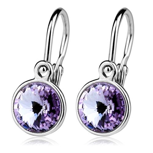 Detské strieborné náušnice, Crystals from SWAROVSKI®, farba: Violet