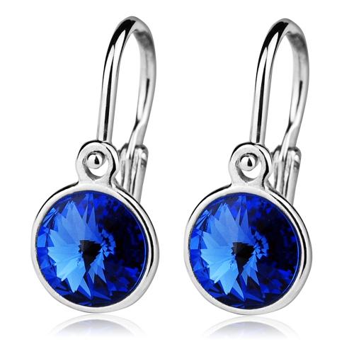 Detské strieborné náušnice, Crystals from SWAROVSKI®, farba: Sapphire