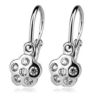 Šperky4U Dětské náušnice stříbrné, čiré zirkony - CS1200