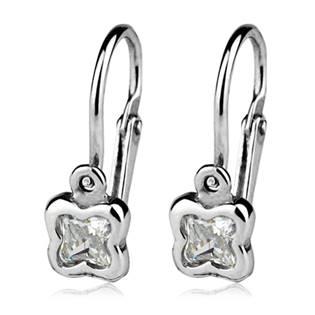 Šperky4U Dětské náušnice stříbrné - kytičky, čiré zirkony - CS1130-C