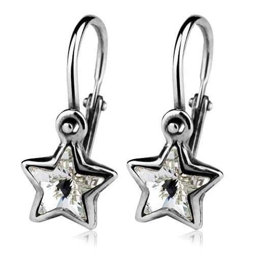 Detské strieborné náušnice - hviezdičky, Crystals from SWAROVSKI®, farba: Crystal