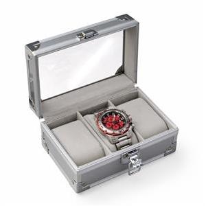 Malá šperkovnica na ukladanie hodiniek - strieborná