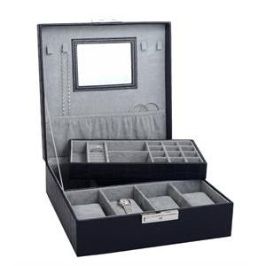 Šperkovnica na ukladanie hodiniek - čierna koženka