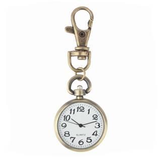 Šperky4U Retro kapesní hodinky s karabinou - KH0025