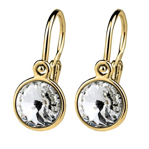 Zlaté dětské náušnice s kameny Crystals from SWAROVSKI®, barva: Crystal CSZ5004