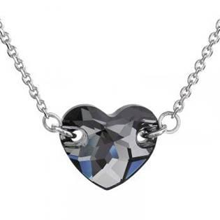 Stříbrný náhrdelník srdce Crystals from Swarovski® Silver Night