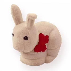 Semišová darčeková krabička - zajačik béžový - červená mašľa
