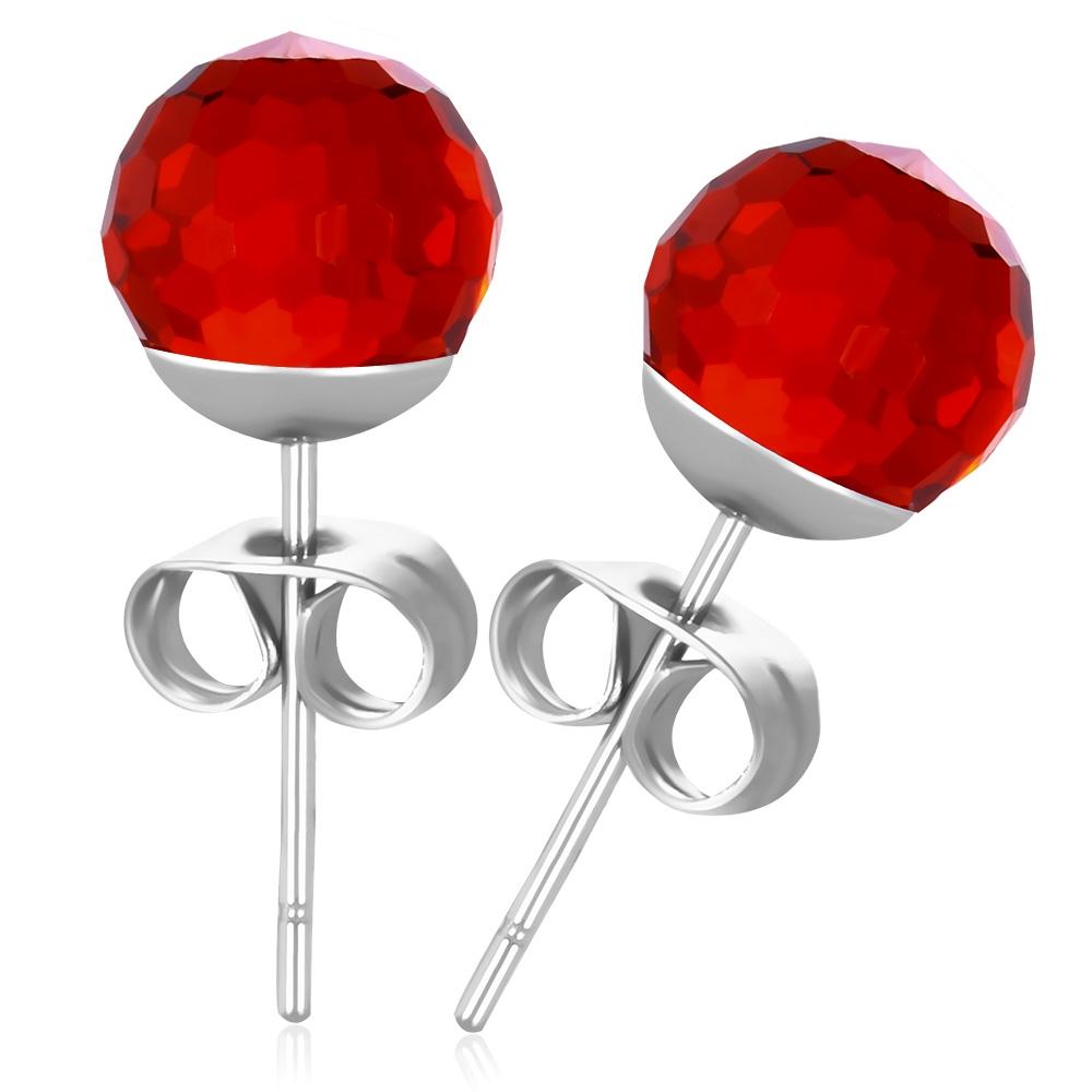 Oceľové náušnice s červenými kameňmi
