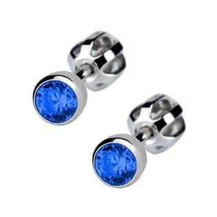 Stříbrné náušnice se tmavě modré kamínky 4 mm